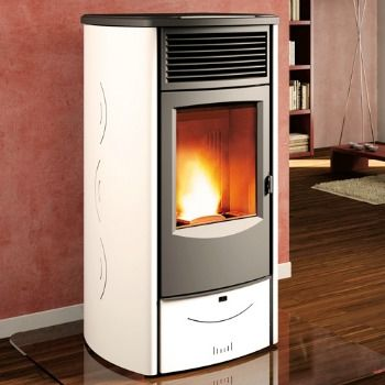 Choose a Sabrina | Piazzetta Pellet Stove color to compliment your home style and décor.  This modern pellet stove is a powerful heater.