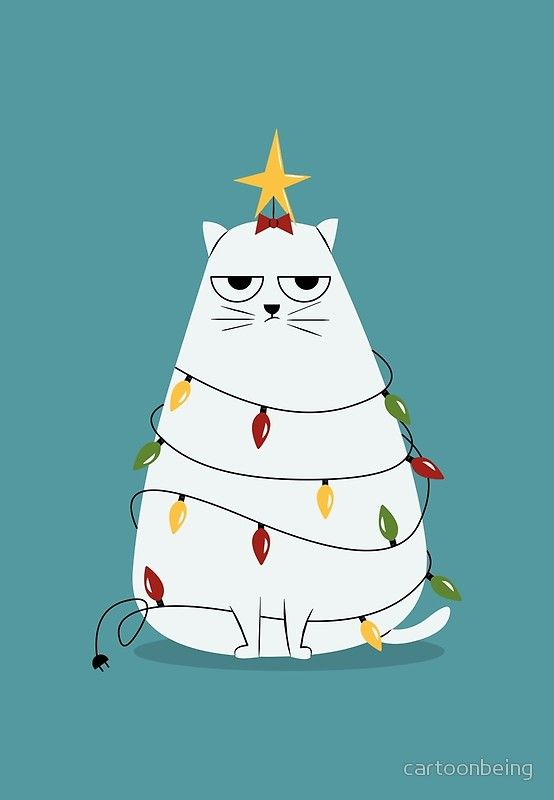 Cat Christmas Cards 2020 Grumpy Christmas Cat' Greeting Card by cartoonbeing in 2020