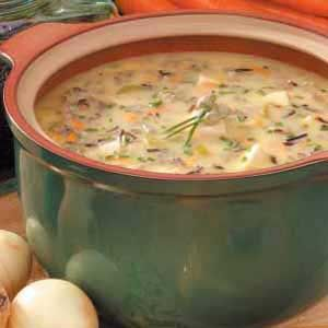 Cream of Wild Rice - Tender cubes of chicken, fresh vegetables and wild rice make this soup hearty enough for a meal. You can't beat the down-home comfort of a warm bowlful.