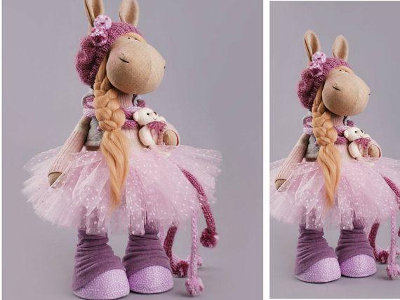 Horse doll Tilda doll Spring doll Art doll grey pink violet colors Soft doll Cloth doll Fabric doll Baby doll by Master Alena Raduga