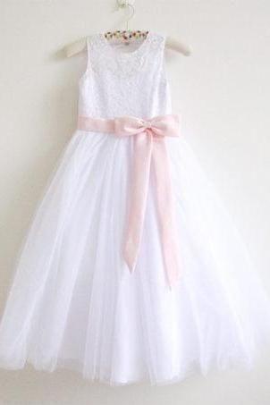 White Lace Flower Girl Dress Pink Baby Girls Dress Lace Tulle White Flower Girl Dress With Pink Sash/Bows Sleeveless Floor-length D2