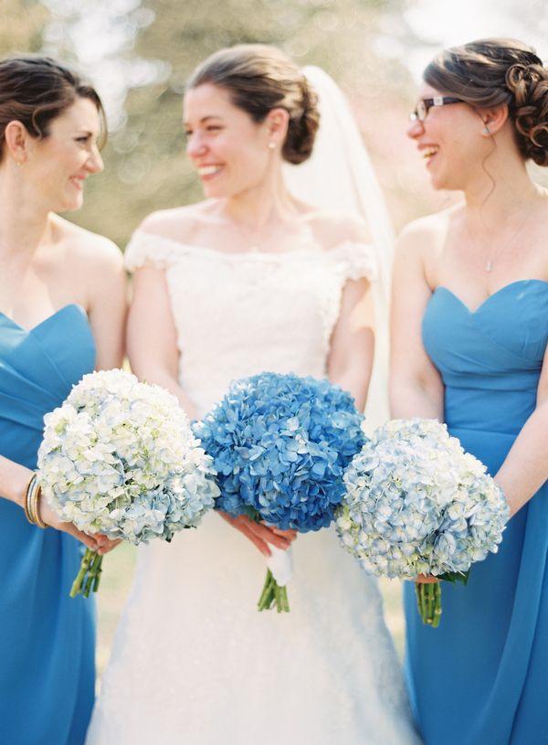 Blue Hydrangea Bouquets   photography by http://www.michaelandcarina.com