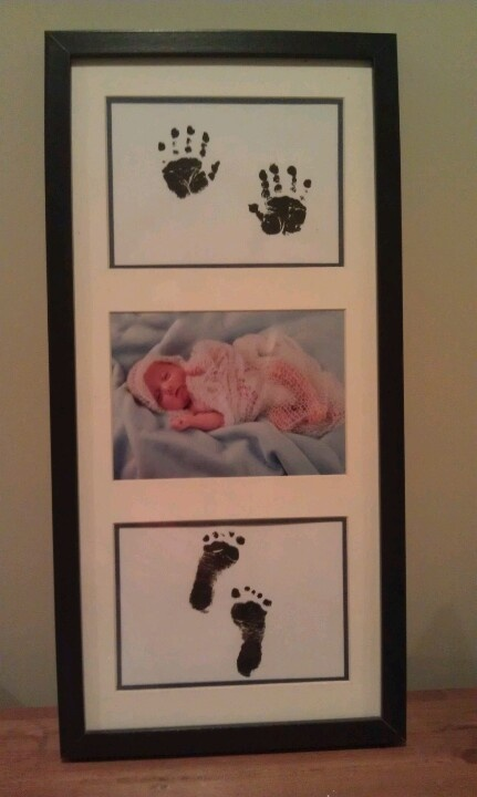 Baby photo, with hand and foot prints.  Scan Hand & Foot prints to then print and have many copies. Saves you from stamping child's hands and feet over and over.