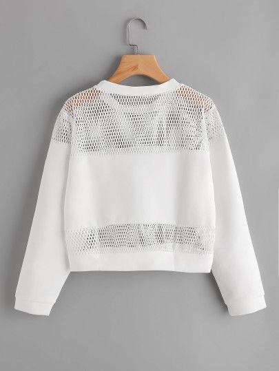 Hollow Fishnet Insert Letter Printed Sweatshirt