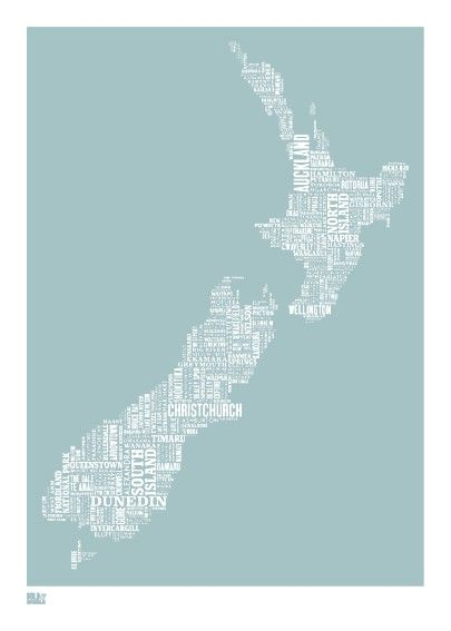 Cities in New Zealand. I'm assuming the length of the word corresponds to the population in each city.