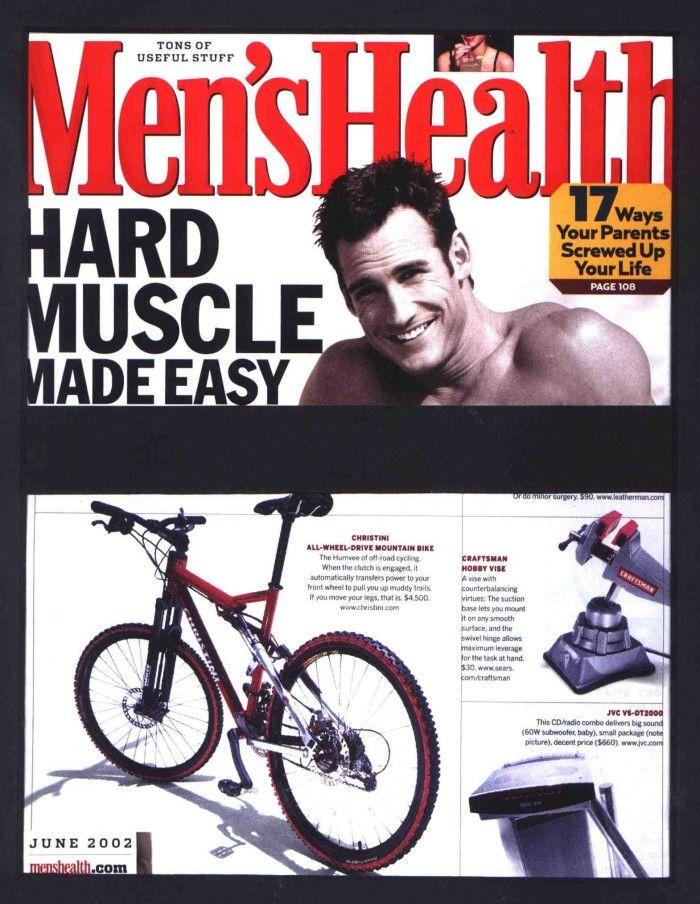Semplice base per un fotomontaggio maschile: una copertina di Men's Health già ritagliata in cui basta sostituire il soggetto maschile.