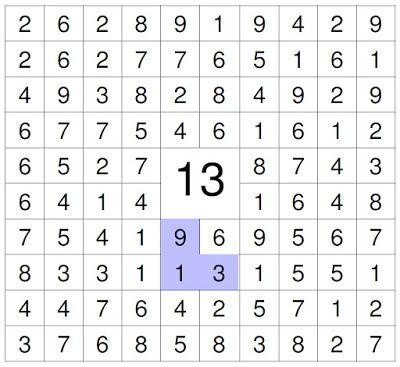 #zahlenrätsel #kinder Suche die Zahlen die zusammen (vertikal, horizontal und oder diagonale) die 13 ergeben.