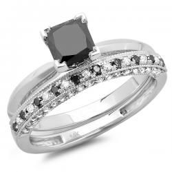 150 Carat Ctw White Gold Princess Cut Black Round Diamond Ladies Bridal Solitaire Engagement Ring With Matching Millgrain Wedding Band Set 1 12 CT