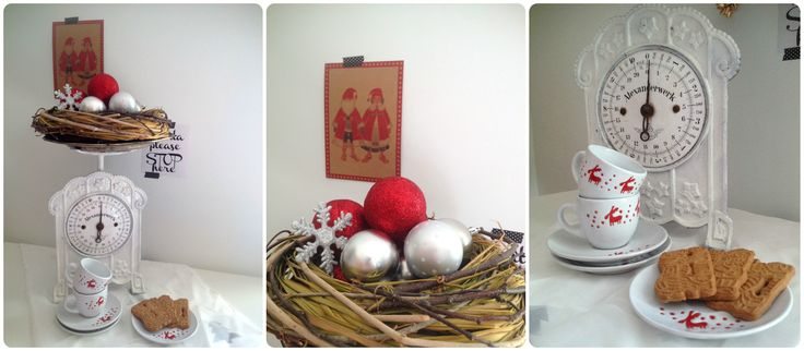 Christmas Decoration White & Nature by CalabrianSunshine  Vintage Scales - Ornaments