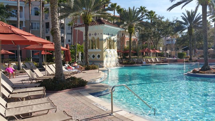 The main pool at Marriott's Grande Vista Resort in Orlando.  Relax in the sun for less knowing that you got a great deal on Traveldealalert.com