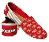 NFL Womens Football Ladies Canvas Logo Slip-On Summer Shoes - Pick Team (San Francisco 49ers - Stripe Large)