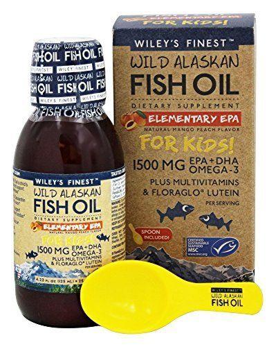Wiley's Finest Wild Alaskan Fish Oil Elementary EPA For Kids! Liquid Mango Peach Flavor 1500 mg EPA   DHA Omega-3