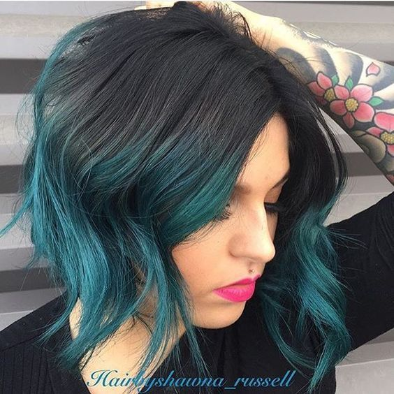 wanting to do something like this with my hair thinking maybe even all of my short blue haircolor - Blue Color Hair