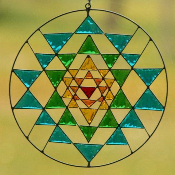 Sri Yantra Sacred Geometry Suncatcher Yoga mandala by Mownart