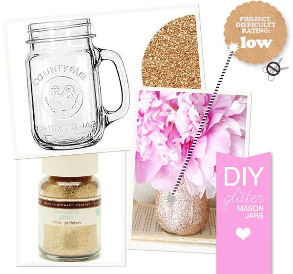 MAKE IT: DIY Glitter Mason Jar + A Tip for Making the Glitter Stay Glued and Not Shed! SO key.