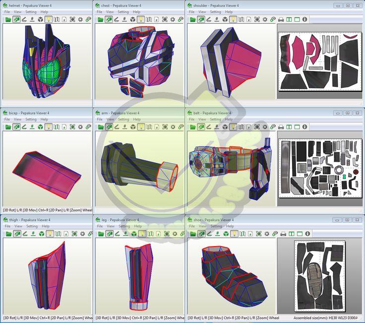 Kamen Rider Decade Costume Template / Pattern Pepakura 3D Model
