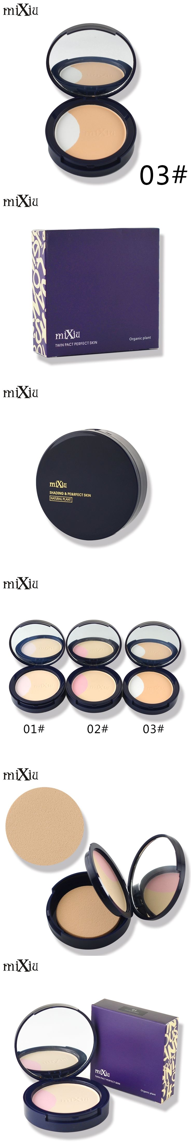 Natural Base Face Pressed Powder Makeup 3Colors Concealer Brighten Contour Camouflage Mixiu Brand Bare Mineral Powder Foundation