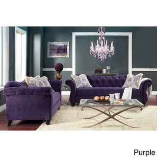 Furniture of America Agatha 2-piece Tufted Sofa and Loveseat Set | Overstock.com Shopping - Great Deals on Furniture of America Sofas
