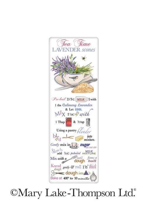 Charm your guests in the kitchen with a fabulous vintage look flour sack towel. Mary Lake Thompson towel featuring a delicious recipe for Lavender Scones.
