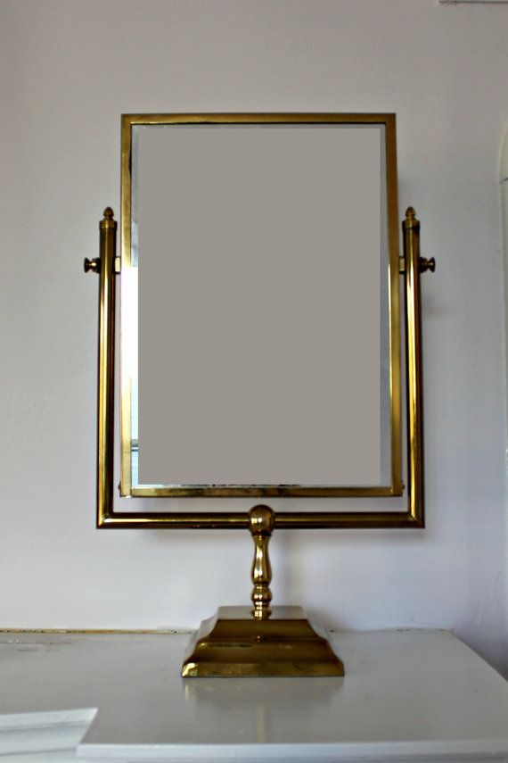 SOLD Vintage Brass Stand Alone Shaving Or Vanity Mirror 95 - Astounding Vanity Mirror On Stand Ideas - Best Idea Home Design