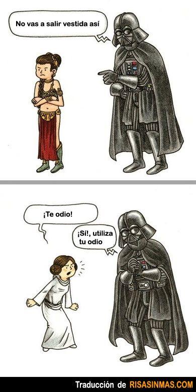 Pelea de hija y padre. Me encanta Star Wars.