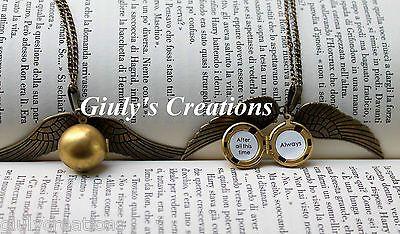 Collana Boccino d'Oro di HARRY POTTER Apribile scritta Always Wingardiumleviosa