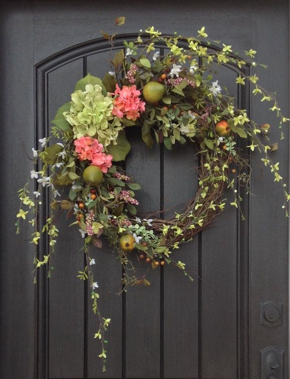 "Spring Wreath Easter Wreath Summer Wreath Grapevine Door Wreath Decor...""Spring Essence"""