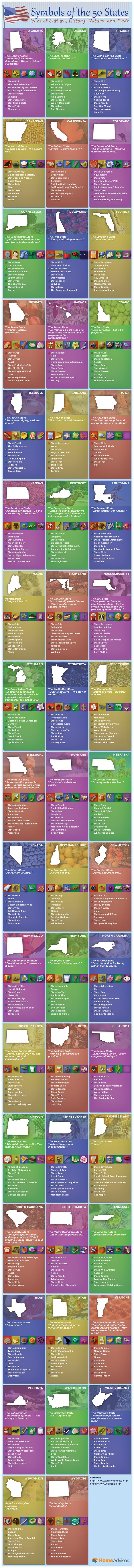 Symbols of the Fifty States: Icons of Culture, History, Nature, and Pride #Infographic #History #StateOfAmerica