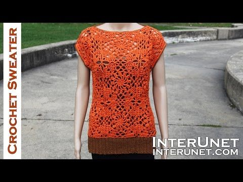 Crochet sleeveless lace sweater - motifs stitch - YouTube
