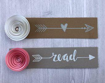 Custom Bookmark - Paper Flower Bookmark - Arrow Bookmark - Pink Flower Bookmark - White Flower Bookmark - Teacher Bookmark