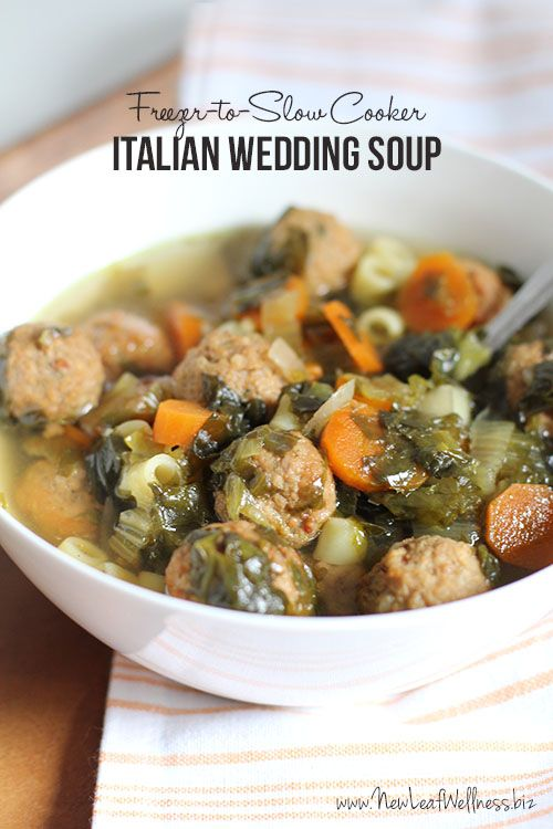 Freezer-to-Slow Cooker Italian Wedding Soup.  Yum!  Add the ingredients to your crockpot or assemble ahead of time and freeze.