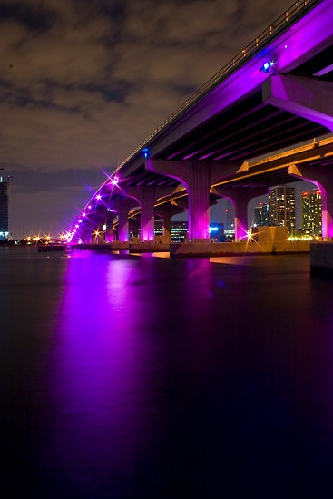 """MacArthur Causeway At Night"" by Diego Texera, Miami, Florida"