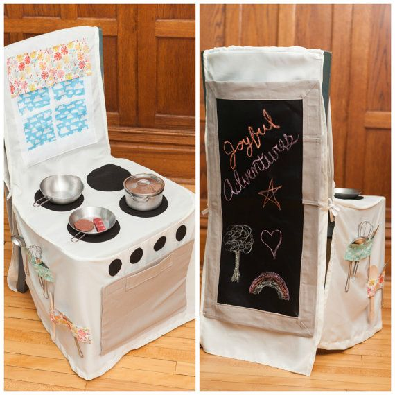 Chair Cover Play Kitchen!  Such a great space saver for apartments or in home daycare! From JoyfulAdventures on Etsy