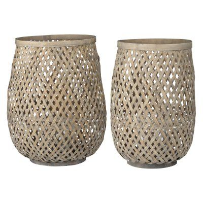 A and B Home Pampa Woodweave Indoor Lanterns - Set of 2 - HP42244