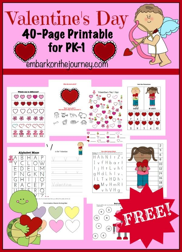 Free 40-Page Valentine's Day Printable Pack for PreK-Grade 1