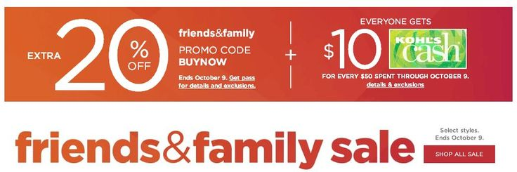 Extra 20% Off Sitewide + $10 Kohls Cash for Every $50 You Spend + Free Shipping Over $75 Get an Extra 20% Off Sitewide + $10 Kohls Cash for Every $50 you Spend + Free Shipping over $75. Expires: 10/09/17 #kohls  #kohls30 #kohls20off #kohlscoupons