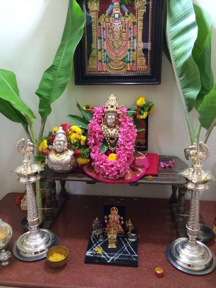 Discover pooja room decoration ideas for Varalakshmi