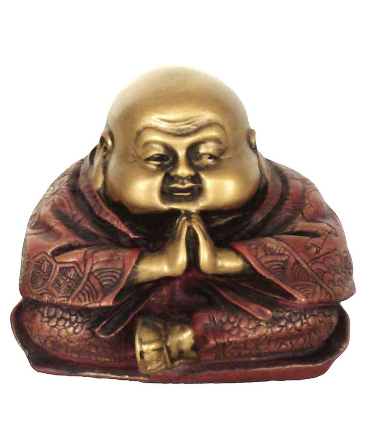 Gold Colored Praying Happy Buddha Figure, 3 Inches