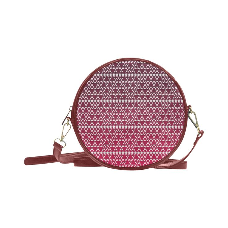 triangles in triangles pattern wht on red Round Sling Bag (Model 1647)