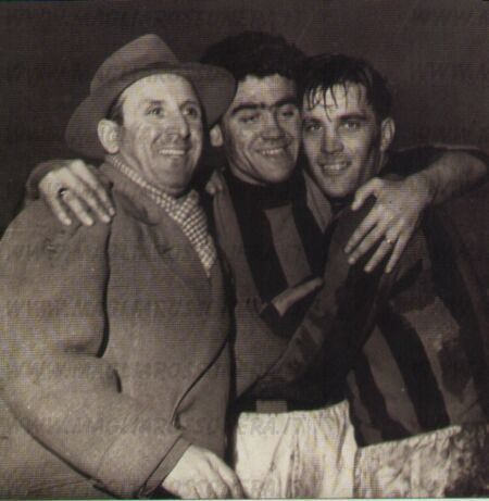 Antonio Busini (AC Milan technical director, 1940–1941, 1945–1947, 1948–1954), Carlo Annovazzi (AC Milan, 1945–1953, 281 apps, 53 goals) and Gunnar Nordahl (AC Milan, 1949–1956, 257 apps, 210 goals) after Juventus vs AC Milan 1-7, 1949/1950 season.