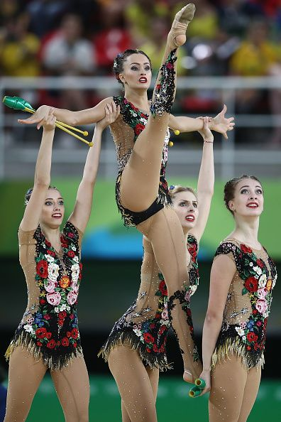 Russia compete during the hoop and club rotation 2 in the group allround…