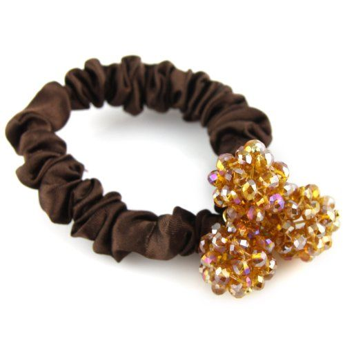 Amber Yellow & Brown - Triple Sphere Configuration - Crystal Cut Shimmery Bead - Silky Satin Hair Elastic - Scrunchie Hair Tie