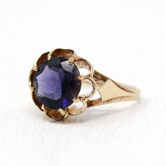 Gold over silver Vintage Sterling Silver Ring iolite in Color Stone Stunning Blue Center Stone