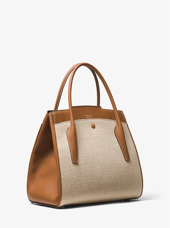 Bancroft Large Calf Leather And Linen Satchel Preview2