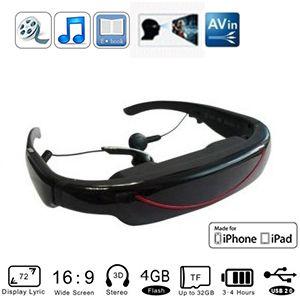 lunettes vidéo mobile théâtre - films sur ecran virtuel 72 pouces - usb 2.0 - 4 go de mémoire interne - av in - slot micro sd jusqu'à 32gb