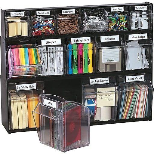 Deflect-O Interlocking Tilt Bin Plastic Compartment Storage