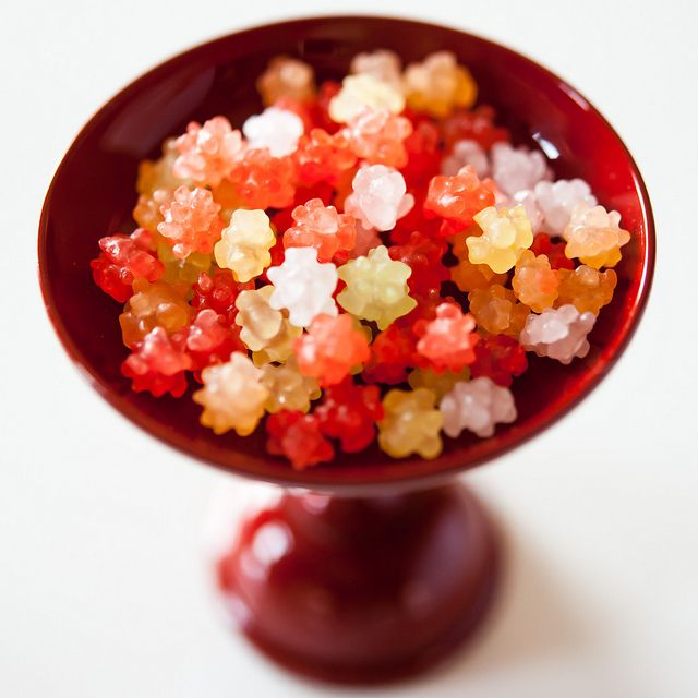 Japanese candies -konpeito-  They'd be interesting in a little jar with light coming through.