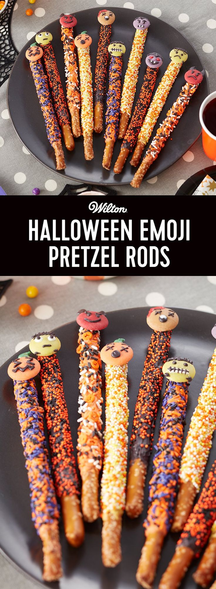 Make fun monster treats for your party with these Halloween Emoji Pretzel Rods. Decorated with festive Halloween sprinkles and topped with cute Candy Melts candy monsters, these pretzel rods are a fun treat for kids and adults alike. Add them to a sweets table or wrap them in treat bags and hand out as party favors. Easy to make for decorators of all skill levels, these Halloween pretzel rods are a fun way to bring your favorite emojis to life!