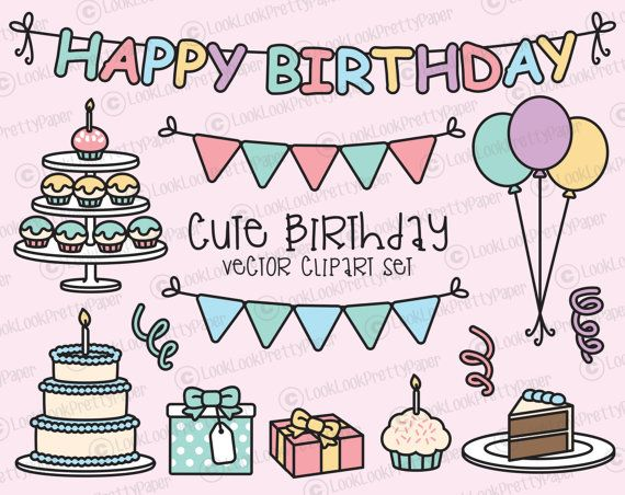 Premium Vector Clipart - Kawaii Birthday - Cute Birthday Party Clipart Set - High Quality Vectors - Instant Download - Kawaii Clipart