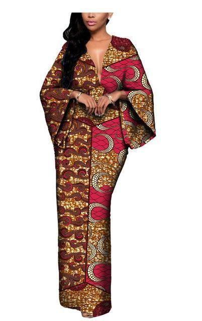 African Batik Flare Sleeve V-Neck Dress #AfricanFashion